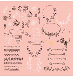 Big set of floral graphic design elements vector image