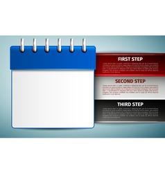 Blue calendar management infographics icon vector image