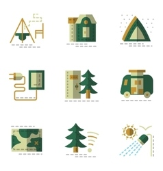 Flat simple green icons for camping vector image vector image