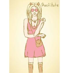 Sketch prostitute from Mafia board game vector image
