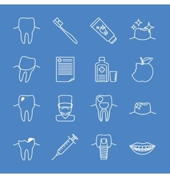Stomatology dental line icons vector image vector image