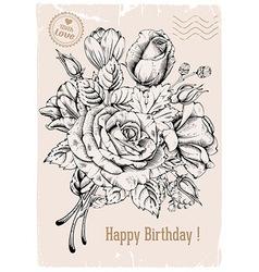 Vintage rose postcard vector image