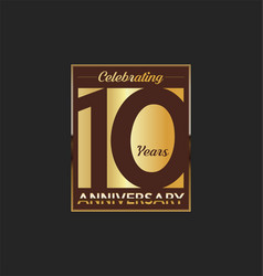 10 years anniversary golden design background vector