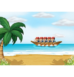 A group of men boating vector image