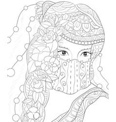 adult coloring bookpage an elegant girl image for vector image