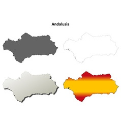 Andalusia blank detailed outline map set vector