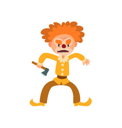 Angry red haired clown cartoon character vector