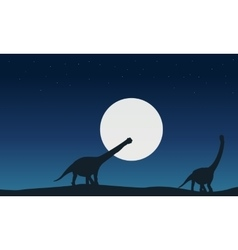 At night argentinosaurus landscape of silhouettes vector