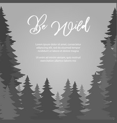 be wild poster design fir trees forest vector image