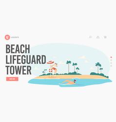Beach lifeguard tower landing page template vector