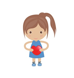 Beautiful girl embraces the heart vector