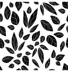 black seamless leaves vector image