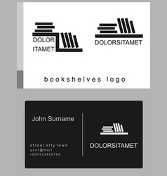 Bookshelves logo set vector