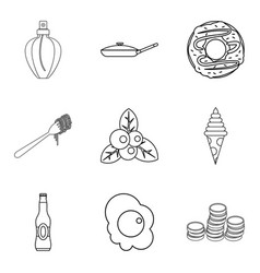 Breakfast in bed icons set outline style vector