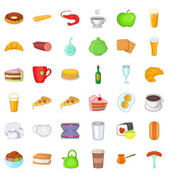 cafe food icons set cartoon style vector image