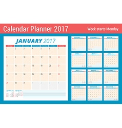Calendar Planner for 2017 Year Week Starts Sunday vector
