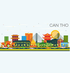 Can tho vietnam city skyline with color buildings vector