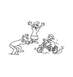 child learn bike with parent cartoon vector image