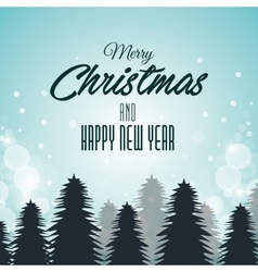 christmas card and new year pines and clouds vector image
