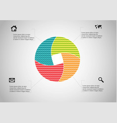 Circle divided to four parts filled color vector
