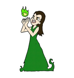 comic cartoon witch woman casting spell vector image