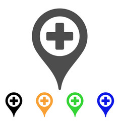 Cross map marker flat icon vector