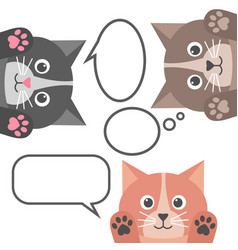 cute cats and speech bubbles on white background vector image