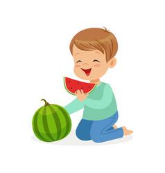 Cute little boy character enjoying eating vector