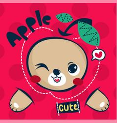 cute teddy bear cartoon with big apple vector image