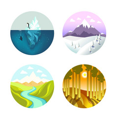 different nature in circles vector image