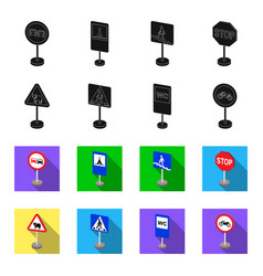 Different types of road signs blackflet icons in vector