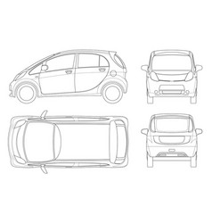 Electric vehicle or hybrid car in outline eco vector