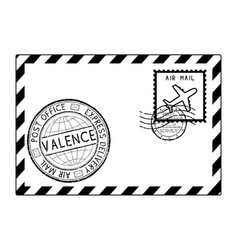 Envelope black icon with postmarks valence italy vector