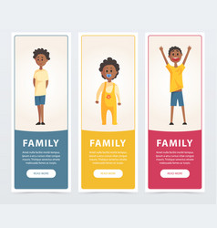family banners set black happy children flat vector image