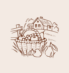 Farm fruit basket on grass vector