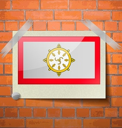 Flags SIKKIM scotch taped to a red brick wall vector image