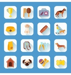 Flat icons set dog slant shadow vector