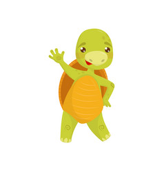 Friendly green turtle waving hand reptile with vector