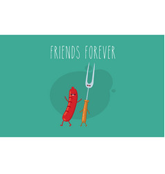 Funny sausage steak and chicken leg friend vector