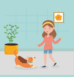 girl and dog playing in house pet care vector image