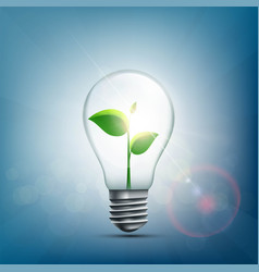 green plant with leaves inside electric bulb vector image