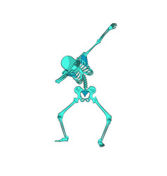 green skeleton character dancing dab step vector image