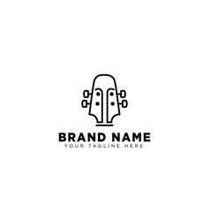 guitar linear logo design template icon vector image