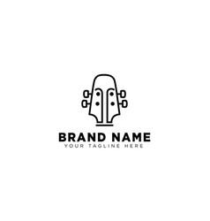 Guitar linear logo design template icon vector
