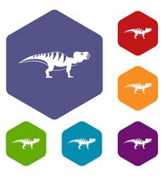 Hadrosaurid dinosaur icons set hexagon vector
