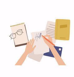 hands holding paper sheet with handwritten text vector image
