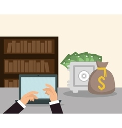 Hands laptop money safe box bookshelf workspace vector