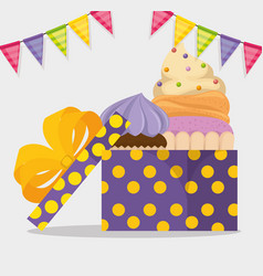 happy birthday card with cupcake and giftbox vector image