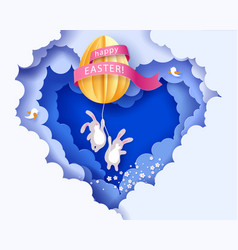 happy easter card with banny flowers and egg vector image