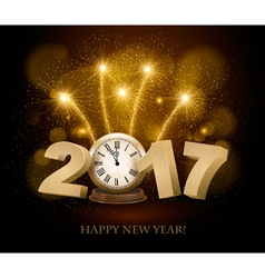 Happy New Year background with 2017 a clock and vector image